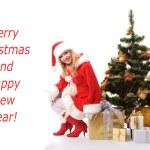Christmas tree and santa girl — Stock Photo #4293291