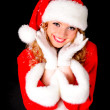 Christmas santa girl on black — Stock Photo #4348028