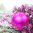 Christmas pink with snow — Stock Photo