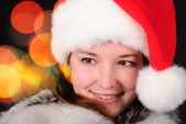 Santa girl face — Stock Photo