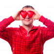 Stock Photo: Man with red heart-shapes