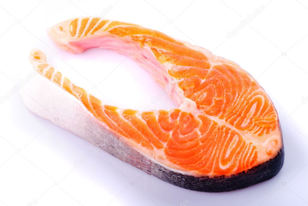 Salmon steak isolated on white background — Stock Photo #5135152