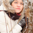 Girl's face with snow outdoors — Stockfoto #5151031