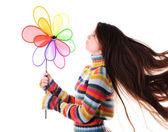 Fille avec colorfull moulin à vent — Photo