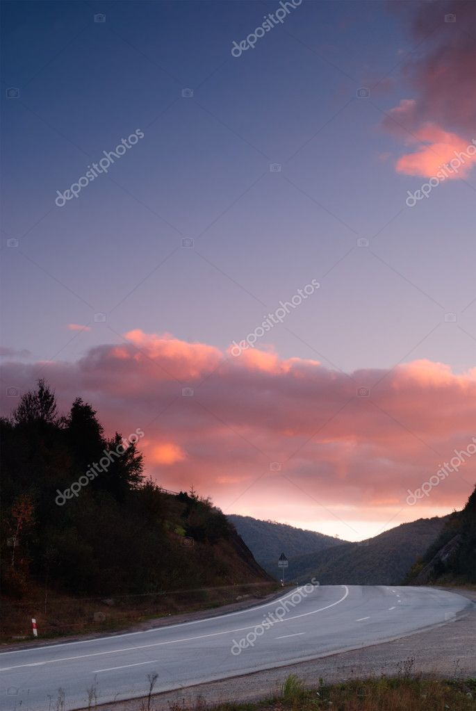 Road in evening sunset, emptiness  Stock Photo #5210637
