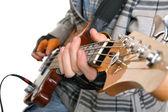 Elinde bir rock müzisyeni — Stok fotoğraf