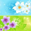 Two multi-coloured floral banners — Stock Vector