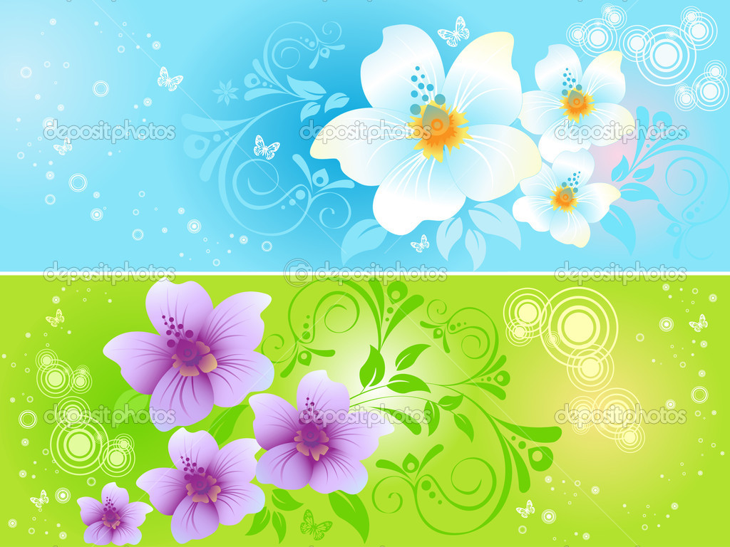 Two multi-coloured floral banners — Stock Vector #4935699