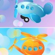 Toy airplane and helicopter, two banner - Stock Vector