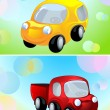 Toy car and delivery cargo truck, two banner — Векторная иллюстрация