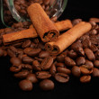 Grains of coffee and stick cinnamon — Stock Photo