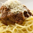 Spaghetti pasta with meat and cheese. Macro - Stock Photo
