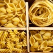 Set of four varieties of pasta — Stock Photo