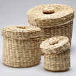 Three wattled baskets — Stock Photo