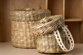 Two wattled baskets — Stock Photo