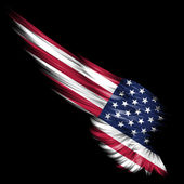 Abstract wing with american flag on black background — Stock Photo