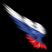Abstract wing with Russia flag on black background — Stock Photo