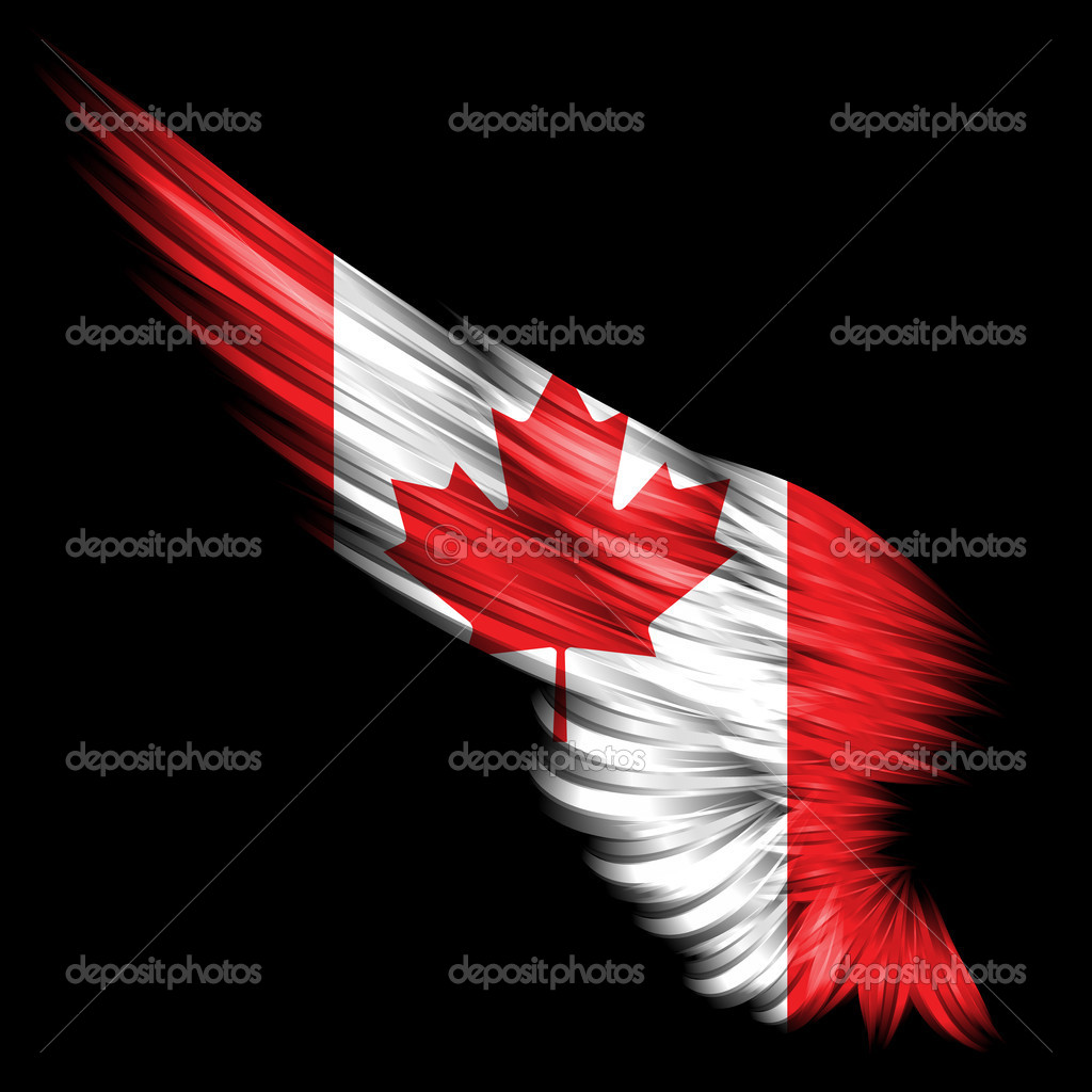 The Abstract wing with Canada flag on black background — Stock Photo #4855860