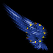 Abstract wing with Europe Union flag on black background — Stock Photo