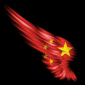 Abstract wing with 's Republic of China flag on black back — Stock Photo