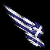 Abstract wing with Greece flag on black background — Stock Photo