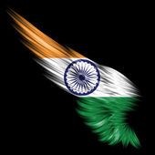 Abstract wing with India flag on black background — Stock Photo