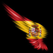 Abstract wing with Spain flag on black background — Stock Photo