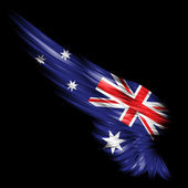 Abstract wing with Australia flag on black background — Stock Photo