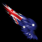 Abstract wing with Australian flag on black background — Stock Photo