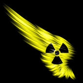 Yellow Abstract wing with radioactive sign on black background — Stock Photo
