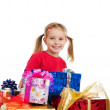 Cute girl wih the gifts — Stock Photo #4026451