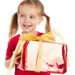 Cute girl wih the gift - Stock Photo