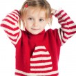 Little girl wearing sweater and gumboots — Stock Photo