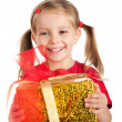 Stock Photo: Cute girl wih gift
