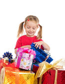 Cute girl wih the gifts — Stock Photo
