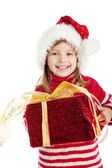 Cute girl wih the gift — Stock Photo