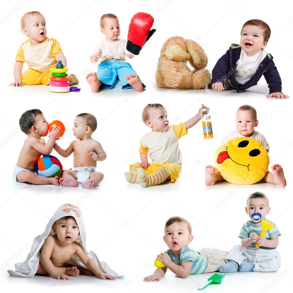 Collection photos of a toddlers on white background  Stock Photo #4067898