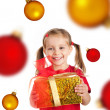 Cute girl with the xmas gift and spheres — ストック写真