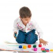 Cute little boy with bright paint — Stock Photo #4129119
