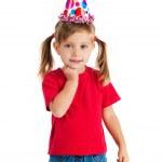 ragazza carina nel cappuccio di compleanno — Foto Stock