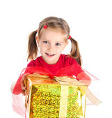 Smiling girl wih the gift — Stock Photo