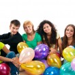 Group of happy teenagers on white - Stock Photo