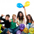 Group of teenagers isolated - Stock Photo