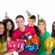 Stock Photo: Group of teenagers isolated