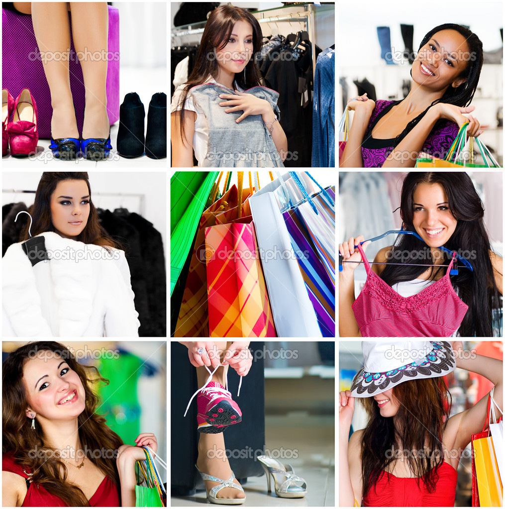 Pretty woman in the shop. Collage — Foto Stock #4470346