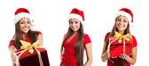 サンタ クロースの帽子写真の若い女性 — ストック写真
