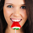 Cute woman with bright candy — Stock Photo