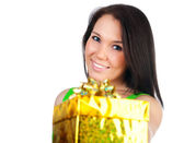 Cute woman with a gift — Stock Photo