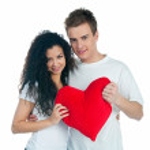 genç bir çift bir kalp — Stok fotoğraf
