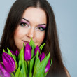 Royalty-Free Stock Photo: Cute young women with the flowers
